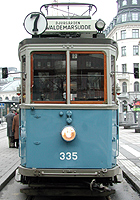 Tram 335 at Norrmalmstorg in Stockholm, at Djurg�rdslinjen the mars 31 2001.