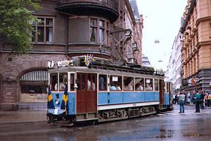 Första spårvagnen på Djurgårdslinjen 1991